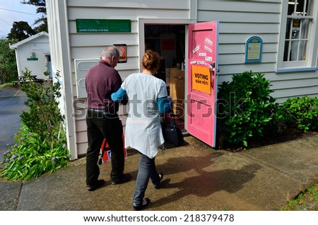 MANGONUI, NZL -SEP 20 2014:New Zelanders voting for NZ 2014 General Election.The Electoral Commission said 717,579 people voted in advance of election day, more than double then Election in 2011.