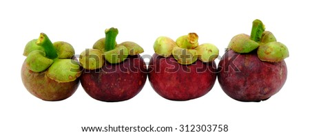 Mangosteen isolated on white background. Slightly defocused and close-up shot  (Shallow DOF, slight motion blur)