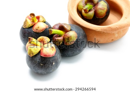 mangosteen on a white background.