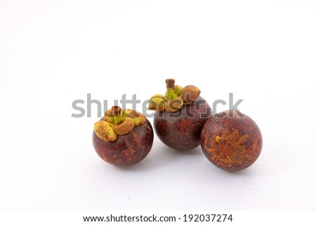 mangosteen on a white background, closeup of photo