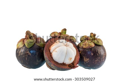 Mangosteen  the queen of friuts isolated on white background
