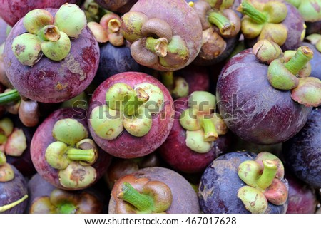 Mangosteen, the queen of fruits, Delicious mangosteen fruit arranged on a basket