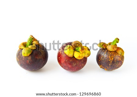 mangosteen tropical fruit on white background