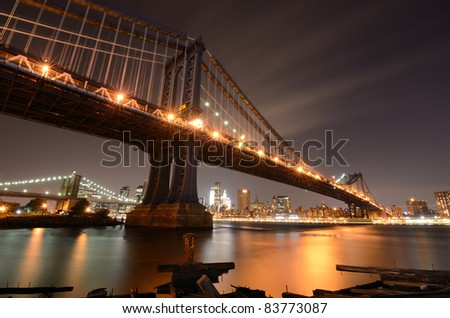 Manhattan and Brooklyn Bridges in New York City.