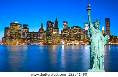 Manhattan and the statue of Liberty, New York City. USA. - stock photo