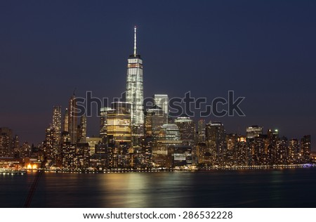 Manhattan at night from Jersey