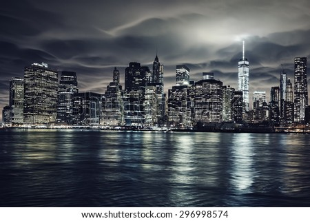 Manhattan at night, New York City. View from Brooklyn - stock photo