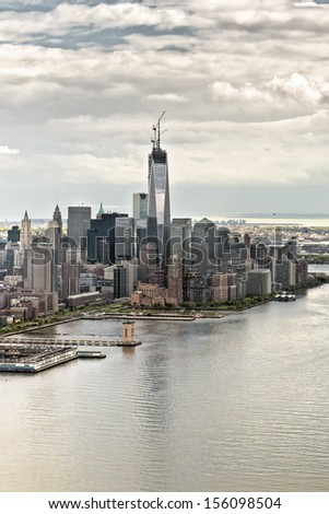 Manhattan bay from a helicopter, New York, USA. The building One World Trade Center under construction in Ground Zero Zone.