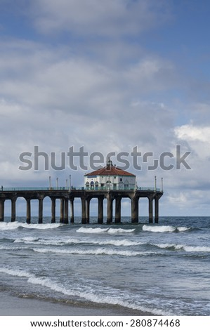 Manhattan Beach Pier California Partly Cloudy Day - stock photo