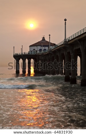 Manhattan Beach Pier California Smokey Sunset - stock photo