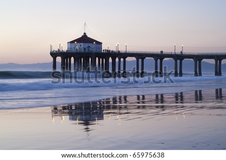 Manhattan Beach Pier Colorful Sunset Reflections - stock photo