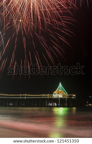 Manhattan Beach Pier Fireworks - stock photo