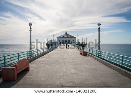 Manhattan Beach pier on a warm sunny day in Los Angeles, California, USA - stock photo