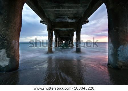 Manhattan Beach Pier Sunset - stock photo
