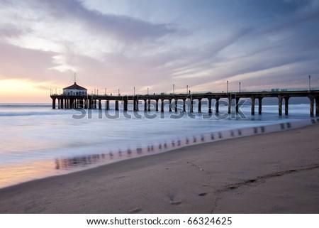 Manhattan Beach Pier Sunset Soft Colors - stock photo