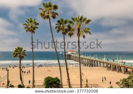 MANHATTAN BEACH, USA - MARCH 28, 2015: People enjoy the beach on March 28, 2015 in Manhattan Beach - stock photo