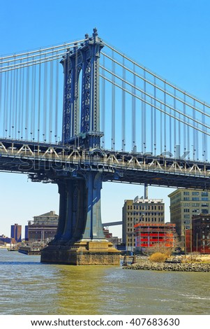 Manhattan bridge across East River. The Bridge connects Lower Manhattan with Brooklyn of New York City, USA. Brooklyn on the right