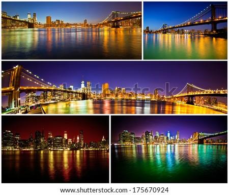 Manhattan Bridge and Brooklyn Bridge with Manhattan skyline collage - stock photo