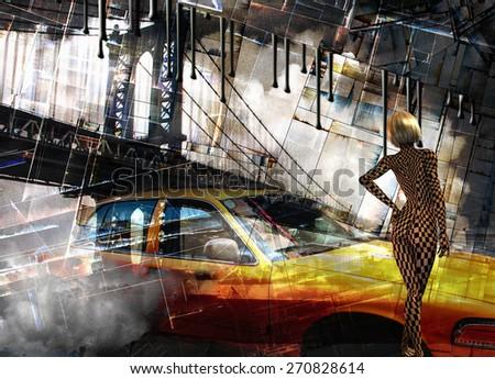 Manhattan Bridge and Cab with Woman - stock photo
