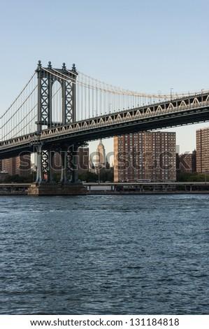Manhattan bridge and skyline, New York City - stock photo