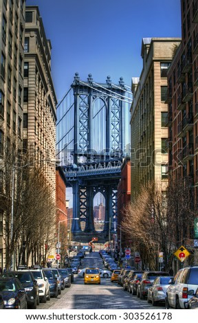 Manhattan Bridge as Seen from Brooklyn, New York - stock photo