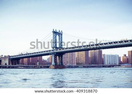 Manhattan bridge, Manhattan New York. Urban living and transportation concept. Vintage color post processed - stock photo