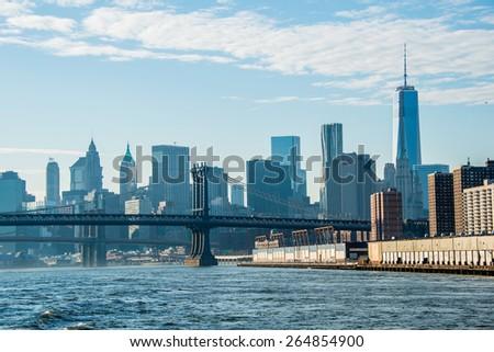 Manhattan bridge on summer day - stock photo