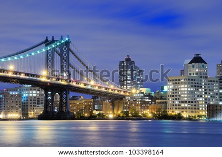 Manhattan Bridge spanning the East River towards Manhattan in New York City. - stock photo
