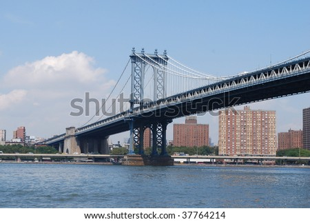 Manhattan Bridge Viewed from Empire Fulton Ferry State Park in Brooklyn - stock photo