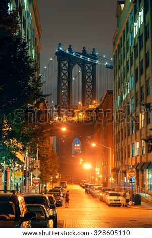 Manhattan Bridge viewed from street at night