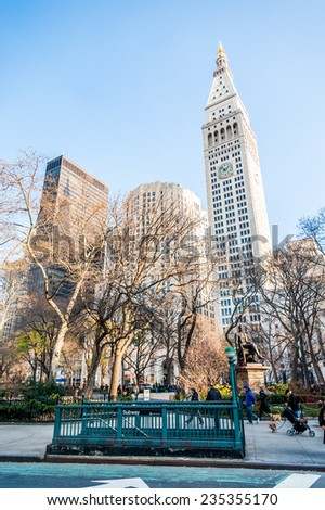 manhattan, circa dec 2011: classic street view, people and skyscraper of manhattan in New york - stock photo