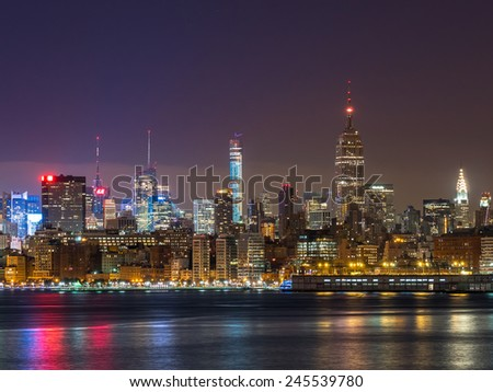 Manhattan, circa dec 2014: Skyline of manhattan whit famous empire state building at sunrise