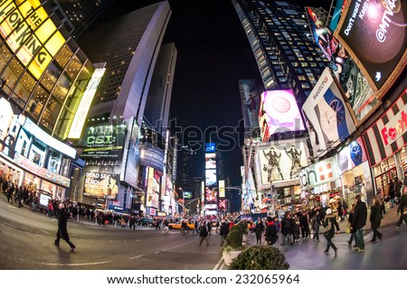 Manhattan, circa dec 2011: Typical Time square night view scenery in New york city