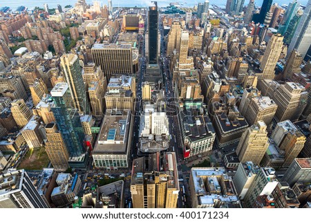 Manhattan cityscape with skyscrapers, New York City (aerial view)