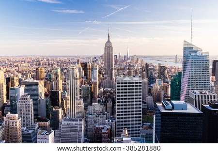 Manhattan cityscape with skyscrapers , New York City (top view) - stock photo