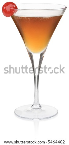 Manhattan Cocktail - isolated on white