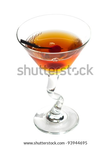 Manhattan cocktail on martini glass with Maraschino Cherrie isolated on white background - stock photo