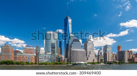 Manhattan Downtown panorama with World Trade Center