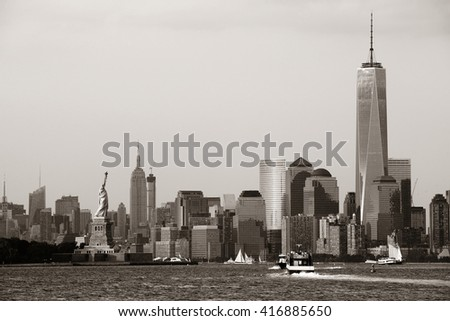 Manhattan downtown skyline with urban skyscrapers over river. - stock photo