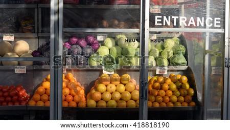 Manhattan fruit stand - stock photo