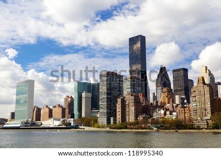 Manhattan midtown buildings, New York City - stock photo
