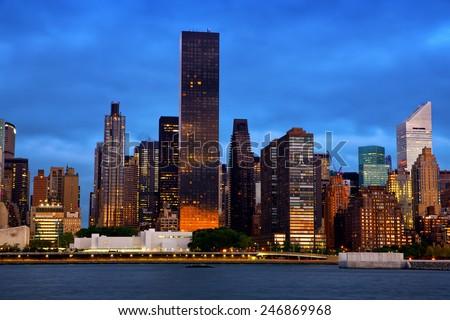 Manhattan Midtown skyline before sunrise, New York - stock photo