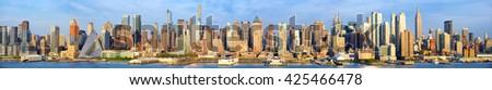 Manhattan Midtown skyline panorama, New York City - stock photo