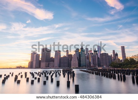 Manhattan New York at sunset. HDR image with a long exposure.
