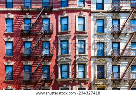 Manhattan New York City - Background texture pattern of Buildings - stock photo