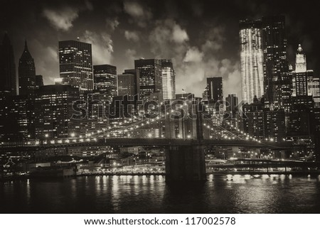 Manhattan, New York City - Black and White view of Tall Skyscrapers, U.S.A. - stock photo