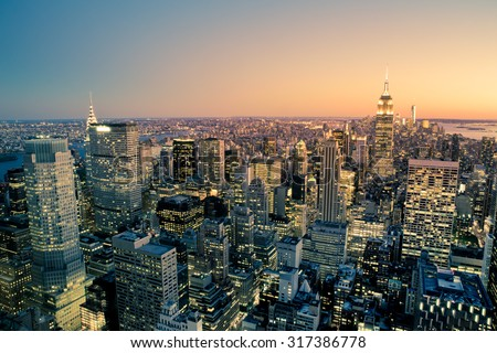 Manhattan New York City Cityscape skyline at dusk - stock photo