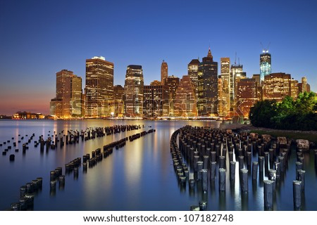 Manhattan, New York City. Manhattan skyline viewed from Brooklyn at twilight.