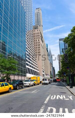 Manhattan New York city Sixth Avenue Las Americas 6th Av NYC US - stock photo