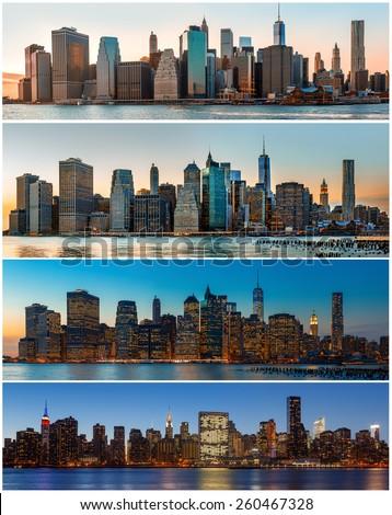 Manhattan. New York City skyline panorama. Set of 4 images - stock photo